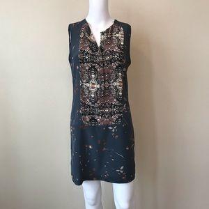 A.L.C Shift Dress 100% Silk Size 4 Blue Multicolor